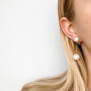 Vintage Double Pearl Clip-On Drop Earrings